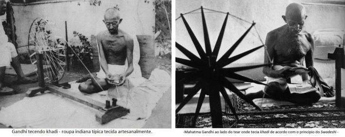 Gandhi tecendo roupa indiana de acordo com o conceito de •Swadeshi